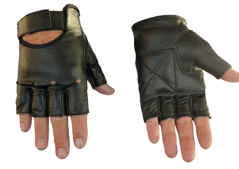Image of Leather Fingerless Motorcyle Gloves