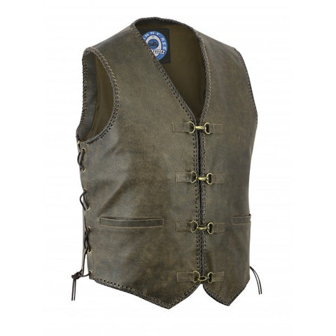 "Image of Johnny Reb ""Sturt"" Vintage Leather Motorcycle Vest"