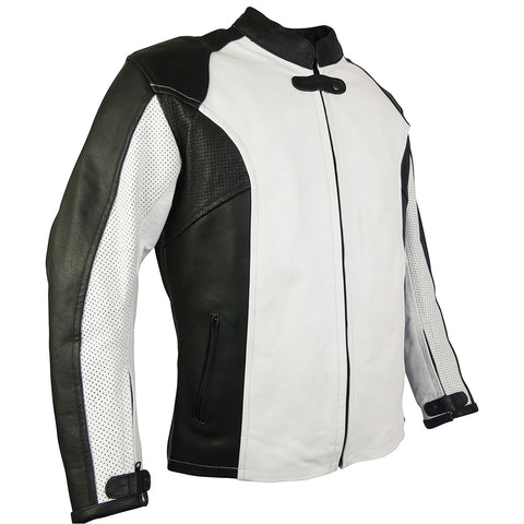Perforated Leather Sport Rider Jacket-Jade