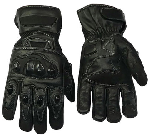 Leather And Breathable Mesh Lightweight Summer Motorcycle Gloves-Colt