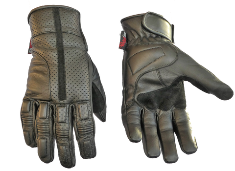 Image of Soft Feel Genuine Leather Perforated And Breathable Gloves-Visor