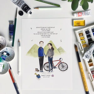 Personalised Portrait for Couples with Hobbies - Nia Tudor Illustration