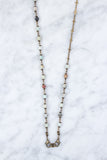 Brass Cross & Amazonite Beaded 4-in-1 Chain - 36-Inch