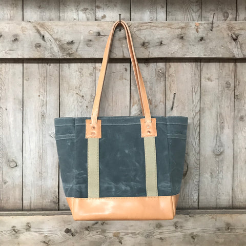 Leather Bottom Carry Tote