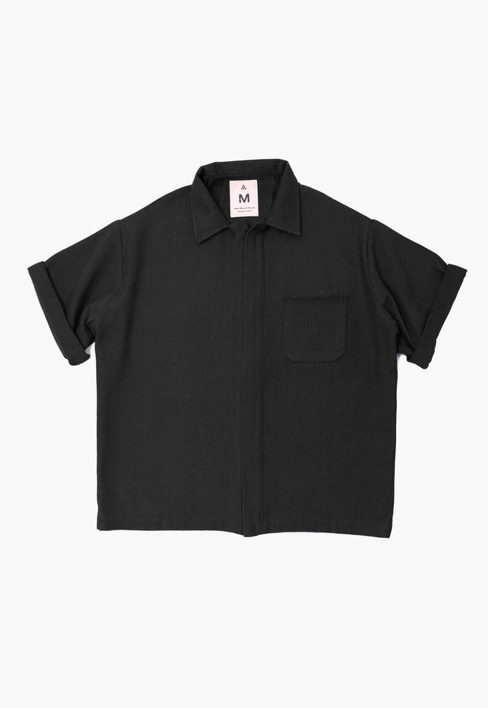 Black Twill Zip Overshirt