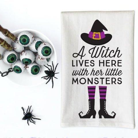 A Witch Lives Here and her little Monsters Halloween Kitchen Towel