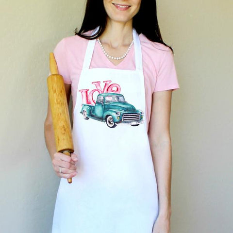 Blue Truck with Love Apron