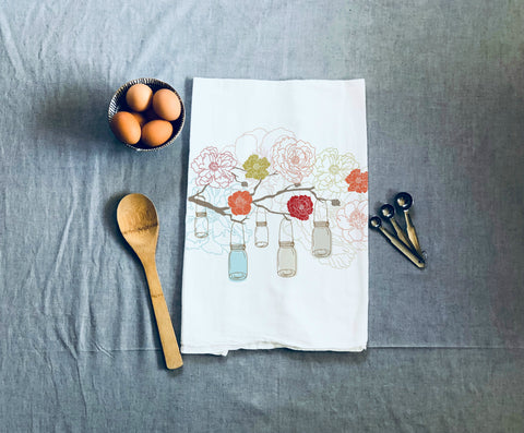 Coral Floral Kitchen Towel
