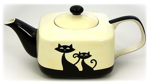 Hues & Brews 36 Oz. Cattitude Ivory Teapot