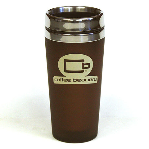 14 Oz. Coffee Beanery Double Wall Stainless Steel Travel Tumbler by Hues & Brews - BPA Free, Brown / Beige