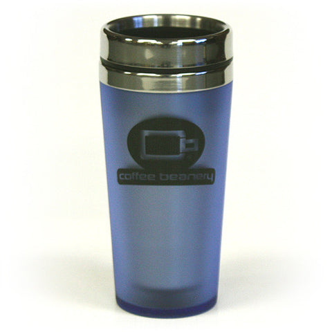14 Oz. Coffee Beanery Double Wall Stainless Steel Travel Tumbler by Hues & Brews - BPA Free, Sky Blue / Black