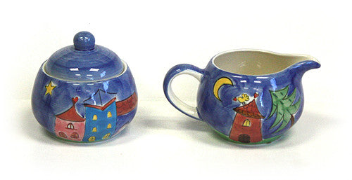 Hues & Brews Yellow Bird Village Cream & Sugar Set