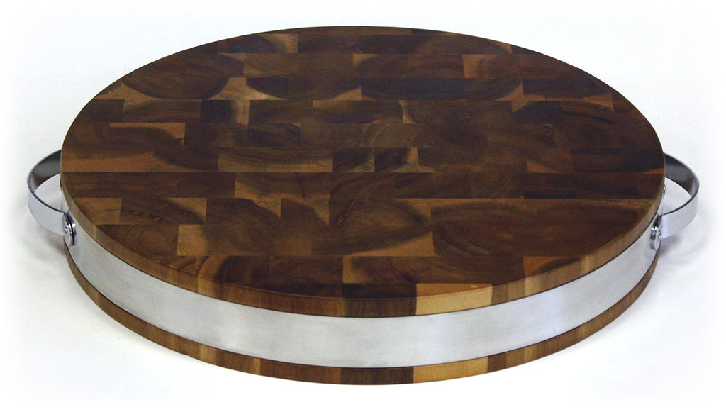 "Mountain Woods 15"" X 2"" Extra Thick Acacia Hardwood End Grain Round Cutting Board w/ Stainless Steel Band"