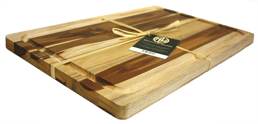 "Mountain Woods Teak Wood Cutting Board with Juice Groove 17""L x 11""W"