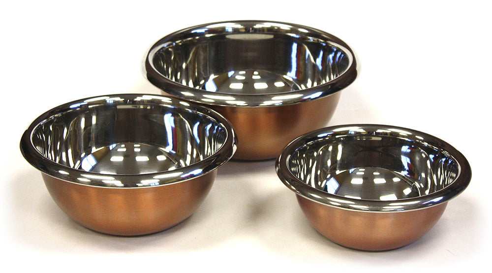3 Piece Premium Stainless Steel w/ Copper Plated Exterior Mixing Bowl Set by ZUCCOR