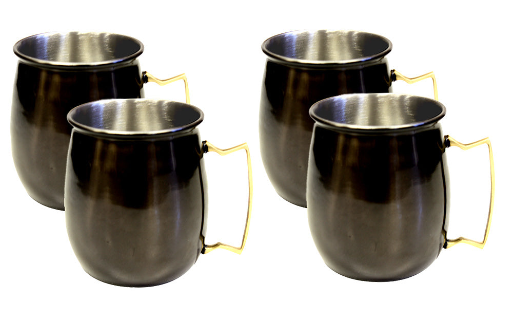 Zuccor Stainless Steel Moscow Mule Mule Mug With Black Nickle Plated Exterior Set Of Four