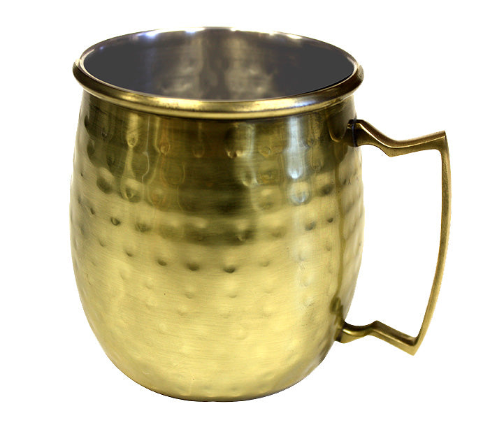 Zuccor Stainless Steel Moscow Mule Mug W/ Hammered Gold Color Nickle Plated Exterior