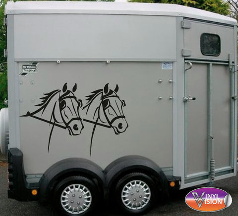 Dressage horse with stripes for lorry, trailer, horsebox decal - Large size