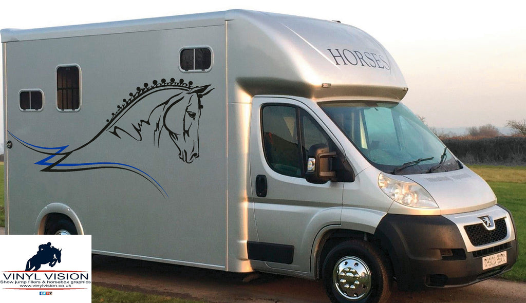 Dressage horse with stripes for lorry, trailer, horsebox decal - Large size - Vinyl Vision