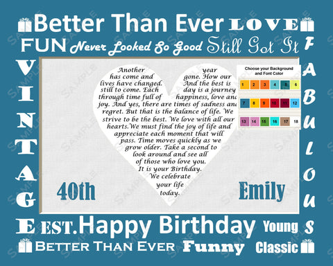 Personalized 40th Birthday Gift 40th Birthday Poem Heart Print 8 X 10 - 40th Birthday Gift Ideas