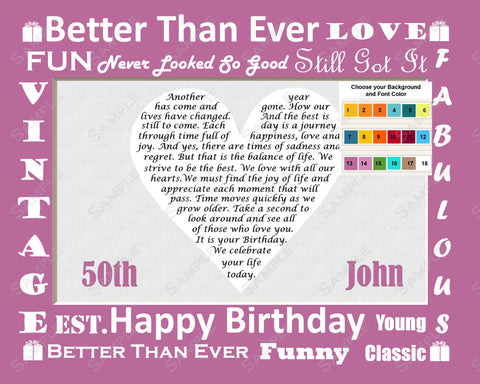 Personalized 50th Birthday Gift 50th Poem Heart Print 8 X 10 Fifty Birthday Gift Ideas