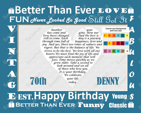 Personalized 70th Birthday Gift Poem Heart 70th Birthday Gift 8 X 10 Print Seventy Birthday Gift Ideas