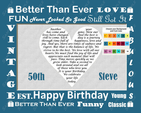 Personalized 50th Birthday Gift Love Poem 50th Birthday Gift Heart 8 X 10 Print Fifty Birthday Gift Ideas