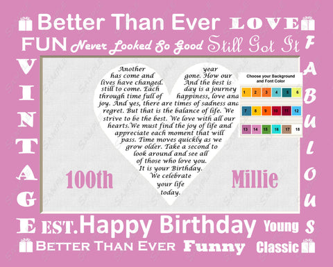Personalized 100th Birthday Gift  100th Birthday Love Poem Heart Print 8 X 10  100th Birthday Gift Ideas