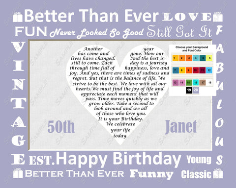 Personalized 50th Birthday Gift 50th Birthday Love Poem 8 X 10 Print Fifty Birthday Gift Ideas