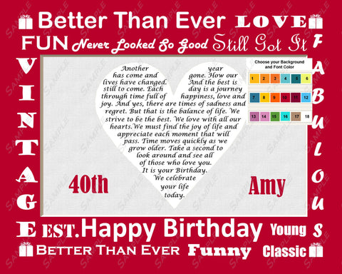 Personalized 40th Birthday Gift Love Poem Heart 40th Birthday Gift Ideas 8 x 10 Print Forty Birthday Gift