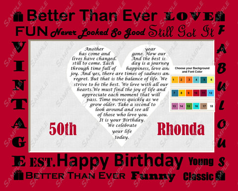 PERSONALIZED 50th Birthday Gift Fifty Birthday Love Poem Heart 8 X 10 Print 50th Birthday Gift Ideas