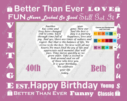 Personalized 40th Birthday Gift Love Poem 8 X 10 Print 40th Birthday Gift Ideas