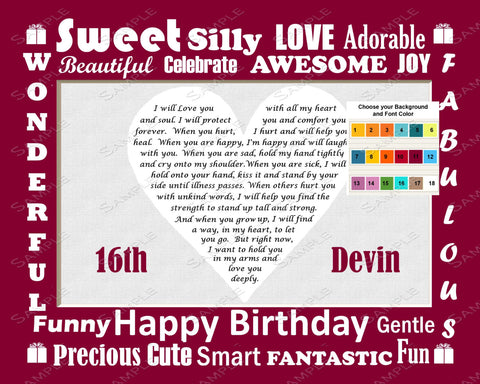 Personalized 16th Birthday Gift Poem 16th Birthday Heart Print 8 X 10 Sweet Sixteen Gifts