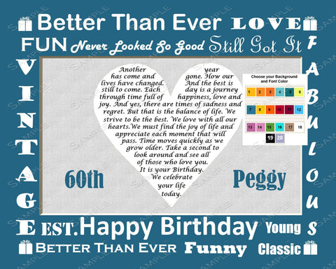 Personalized 60th Birthday Gift Love Poem 60th Birthday Poem -  Sixty Birthday Gift 8 X 10 Print Fun Unique Cute Gift Ideas