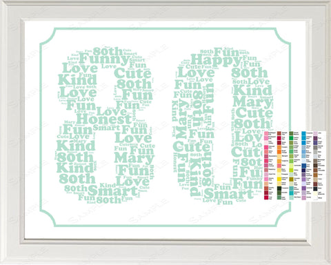 Personalized 80th Birthday Word Art Birthday Print - 80th Birthday Gift 8 x 10 Eighty Birthday Gift Ideas Digital Download .JPG