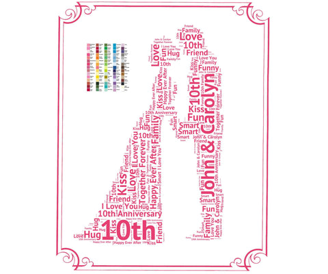 Personalized 10th Anniversary Gift - 10th Anniversary Gift Ideas - Tenth Anniversary Word Art 8 x 10 Print