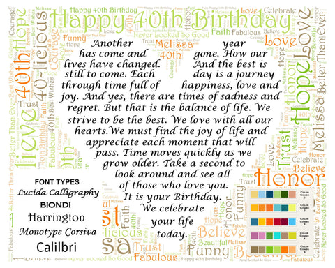 Personalized 40th Birthday Gift Poem 40th Birthday Word Art 8 X 10 Print Fun 40 Year Old Birthday Gifts