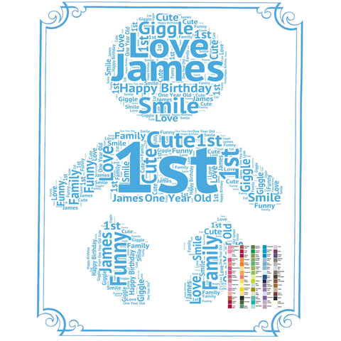 Personalized 1st Birthday Gift 1st Birthday Idea for Baby Birthday Word Art - 8 x 10 First Birthday Gift Idea DIGITAL DOWNLOAD .JPG