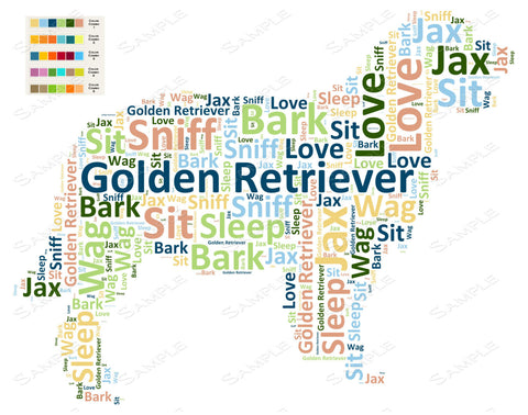 PERSONALIZED Golden Retriever Word Art Golden Retriever Dog 8 x 10 Print Golden Retriever Pet Gifts Many More Breed Available