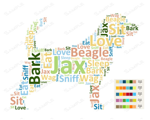 PERSONALIZED Beagle Word Art Beagle Dog 8 x 10 Print Beagle Pet Gifts Many More Breed Available