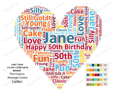 Personalized 50th Birthday Gift 50th Birthday Word Art 8 X 10 Unique Fifty Birthday Gifts DIGITAL DOWNLOAD JPG