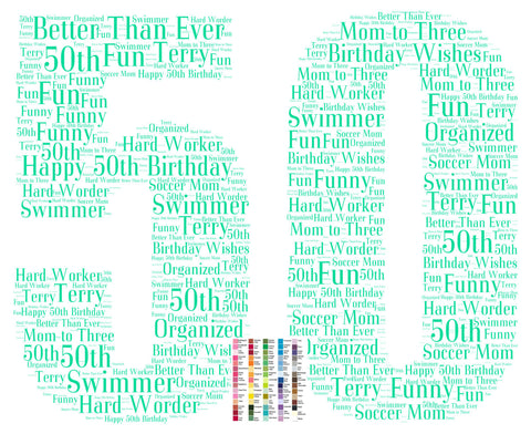 Personalized 50th Birthday Gift 50th Birthday Word Art - 8 x 10 Print Fifty Birthday Gift Ideas