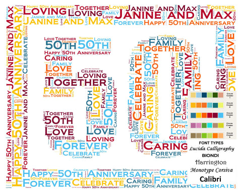 Personalized 50th Anniversary 50th Anniversary Gift 8 X 10 Print Word Art 50th Anniversary Gift Ideas Anniversary Gift for Her Gift for Him