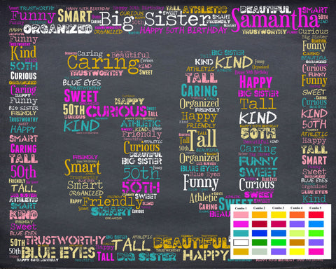 50th Birthday Gift 50 Gift Birthday Gift Fifty Birthday Gift Ideas 50 Birthday Chalkboard Word Art Poster DIGITAL DOWNLOAD .JPG