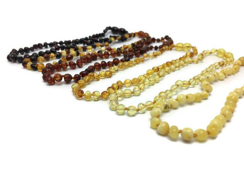 Baltic Amber Necklace - 12.5 Inch Baltic Amber Teething Necklace Basic Polish Raw Baby Toddler