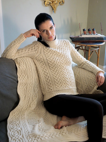 POLO NECK ARAN SWEATER WITH HEART DESIGN