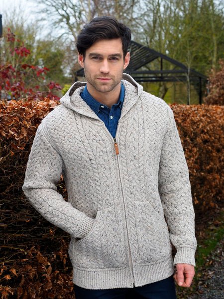 MERINO MENS HOODED CARDIGAN WITH POCKETS
