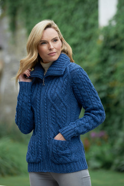 DOUBLE COLLAR ZIP MERINO ARAN CARDIGAN
