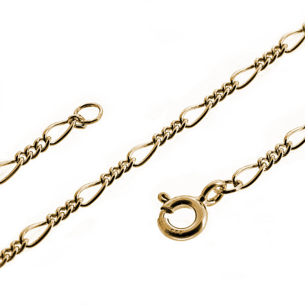 9ct yellow gold 3 & 1 figaro chain necklace from the Necklaces collection at Argenteus Jewellery