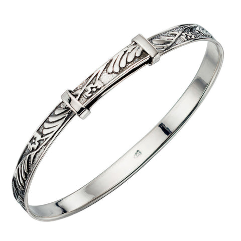 Sterling Silver Floral Pattern Christening Bangle - Small
